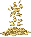 Gold coins with dollar signs falling into a pile