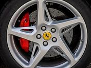 Wheel of a Ferrari car, L. Fagioli Trophy, Gubbio, Umbria, Italy