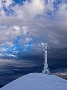 Summit cross covered with hoarfrost, Monte Catria, Apennines, Marche, Italy