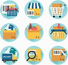 a set of icons related to shopping