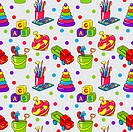 Seamless pattern with colorful childrens toys
