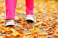 Runner legs and running shoes. Sporty woman jogging walking outdoors in autumn park on forest path