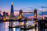 Tower Bridge, The Shard and River Thames, London, England.