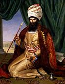 Asker Khan Ambassador of Persia in 1808, 1809, painting by Cesarine Henriette Flore Davin (1773-1844), oil on canvas, 170x133 cm.  Versailles, Château...