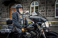 Portrait of Senior man. Memeber of the Harley Davidson motorcycle club. Annual end of the summer festival in Reykjavik, Iceland.
