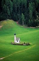 St John's church (Sankt Johann), 18th century, Funes, Puez-Geisler nature park, Trentino-Alto Adige, Italy.
