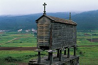 Granite barn on stilts, Horreo, Santiago de Compostela, Galicia, Spain.
