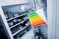 European Union energy label in front of a refrigerator, Germany