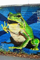 frog as a graffiti on a wall , Germany, Bavaria, Stein