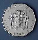 50 cent coin, 1989, obverse, coat of arms. Jamaica, 20th century.