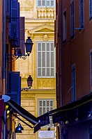 Europe, France, Alpes-Maritimes, Nice. Colorful building of the old town.