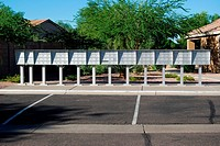 Row of mailboxes in a gated community in Arizona.