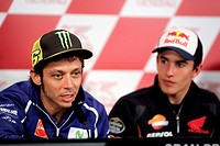 Valentino Rossi (L) and Marc Marquez (R) during a press conference at Ricardo Tormo racetrack in Cheste, near Valencia