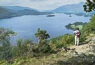 Surprise View DERWENT WATER LAKE DISTRICT Woman hiker viewpoint.