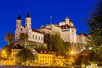 Castle and chuurch in Aarburg at night over river Aare, Kanton Aargau, Switzerland.