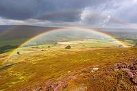 Rainbow over moors near Westerdale, North York Moors National Park, North Yorkshire, England, United Kingdom, Europe.