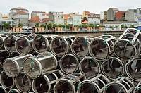 Fishing pots. Port of Camariñas, Galicia, Spain.