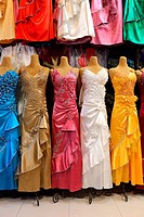 Colorful dresses displayed on manikins in a shop in Bazar-e Bozorg in Esfahan, Isfahan, Iran, Asian.