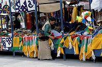 Tibetan Woman Shopping for Prayer Flags