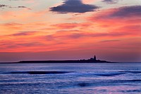 Dawn Sky over Coquet Island Amble by the Sea Northumberland England.