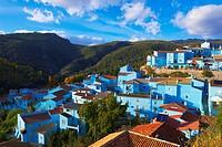 Juzcar, Genal Valley, Genal river valley, Serranía de Ronda. Smurfs Village, Málaga province, Andalusia. Spain.
