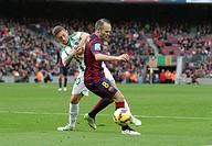 2014 La Liga Football Barcelona v Cordoba CF Dec 20th. 20.12.2014. Barcelona, Spain. La Liga. Barcelona versus Cordoba CF. Iniesta in action in the bo...