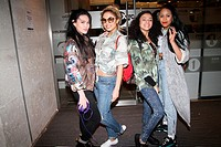 Teen girl band 'Neon Jungle' leave BBC Radio 1 studios where they appeared on the Chart show with Jameela Jamil Featuring: Shereen Cutkelvin,Amira McC...