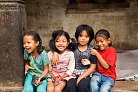 Beautiful young children laughing aged 6 and 7 having fun in village of Bhaktapur a town near Kathmandu Nepal - 23/09/2020