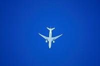 white airplane before blue sky