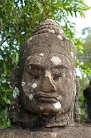 Close-up statue of god, Angkor Thom, UNESCO World Heritage Site, Angkor, Siem Reap,Cambodia, Indochina, Southeast Asia, Asia.