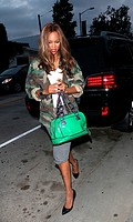 Tyra Banks in fatigues and a bright green bag out and about in West Hollywood Featuring: Tyra Banks Where: Los Angeles, California, United States When...