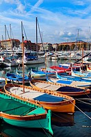Fishingboats in the port of Nice, France, Europe.