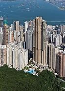 MID LEVELS HONG KONG Skyscraper residential flats above Hong.