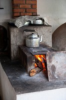 The open kitchen with oven at the Campo Grande facienda ranch house near the Pixaim River in the northern Pantanal, Mato Grosso province of Brazil.