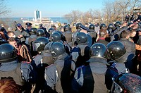 "March 30, Odessa, Ukraine. Police holding back crowd. Radical """"right sector"""" and self-defense maidan provoked the first clash with supporters antima..."
