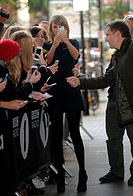 Taylor Swift is greeted by fans outside the BBC Radio 1 studios Featuring: Taylor Swift Where: London, United Kingdom When: 09 Oct 2014 Credit: WENN.c...