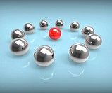 Metal Spheres Show Leadership Management Or Seminar
