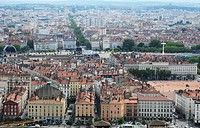Panorama of Lyon city, France - view from Fourvière hill.