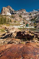Camron Carpenter hiking at Lake Lillian, Sundial Peak in distance, Uintah-Wasatch -Cache National Forest, Lake Blanche Trail, Big Cottonwood Canyon, W...