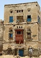 Old Two Storey House With Red Mashrabiya, Mocha, Yemen