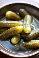 Close-up of gherkins in bowl