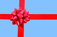 christmas gift with ribbon and copy space