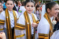 Asia. Thailand, Chiang Mai. Rajamangala University of Technology Lanna. Ceremony graduates.