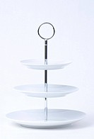 Stoneware three - level cake stand