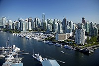 Aerial view of Coal Harbour and downtown; Vancouver, British Columbia, Canada