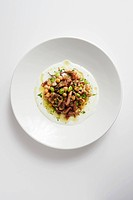 Grilled Octopus Salad with Edamame, Chickpeas and Yogurt