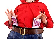 Man in red shirt and jeans with money euro. Isolated.