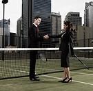 Businesspeople Shaking Hands Across Tennis Net