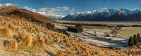 Glenfalloch high country sheep station, panorama after winter snowfall from above Rakaia river, Canterbury.