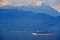 The cruise ship 'Carnival Miracle' in Georgia Strait, north of Nanaimo, Vancouver Island, BC